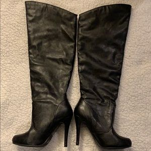 Shoe Dazzle Black Faux Leather Tall Boots
